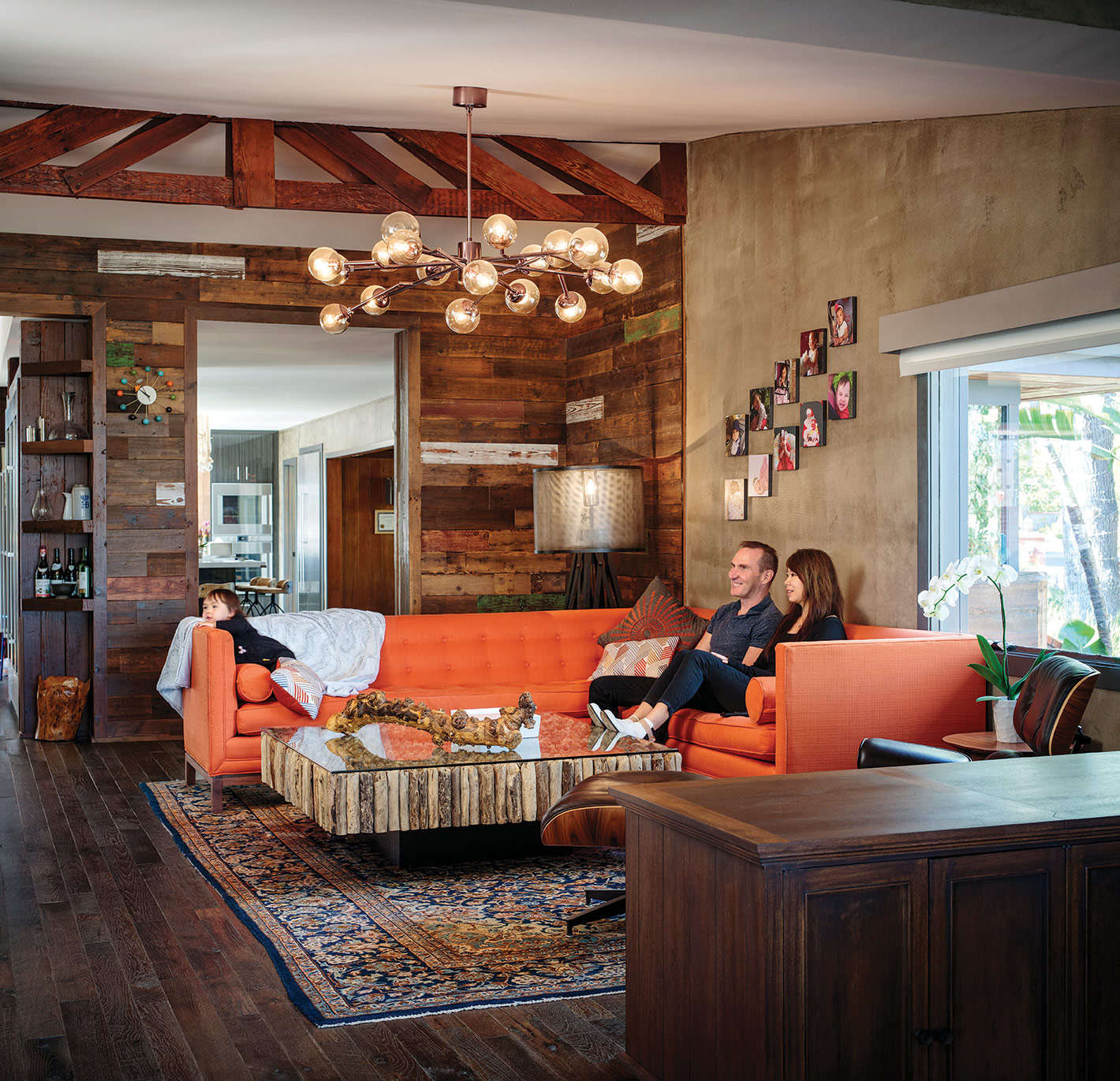 mission hills rustic industrial redesign family room orange couch san diego