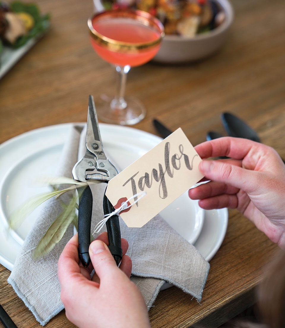DIY wreath making party garden snips place setting