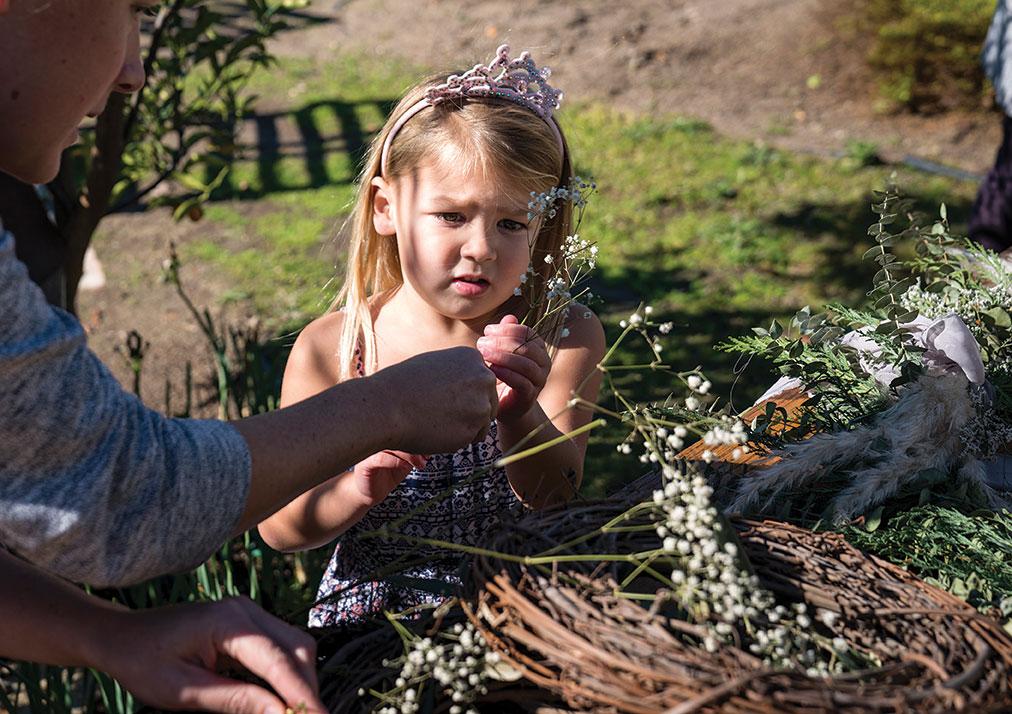 DIY wreath making party Native Poppy kid friendly family friendly