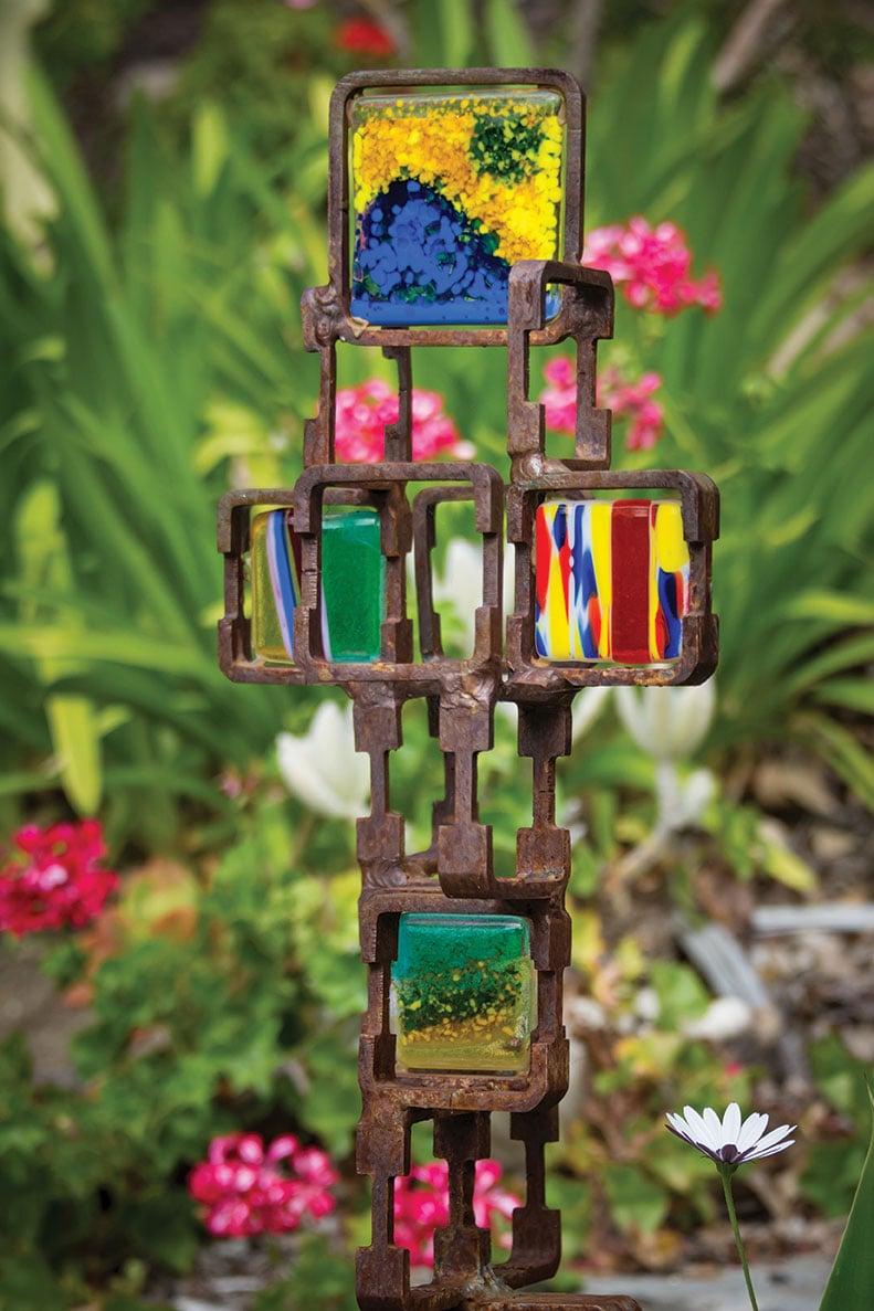DIY landscape garden fused glass welded sculpture