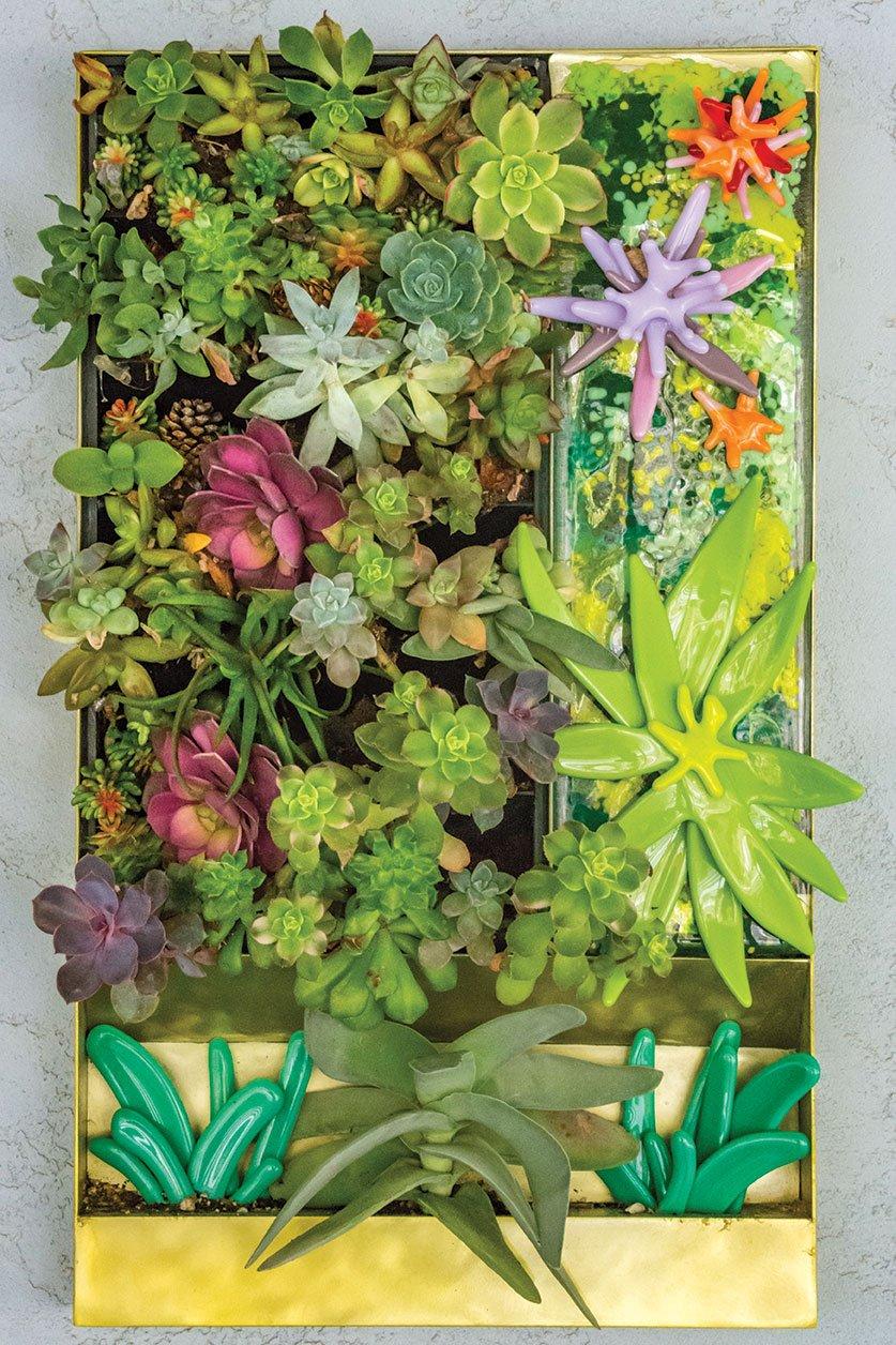 DIY landscape art glass vertical garden succulents