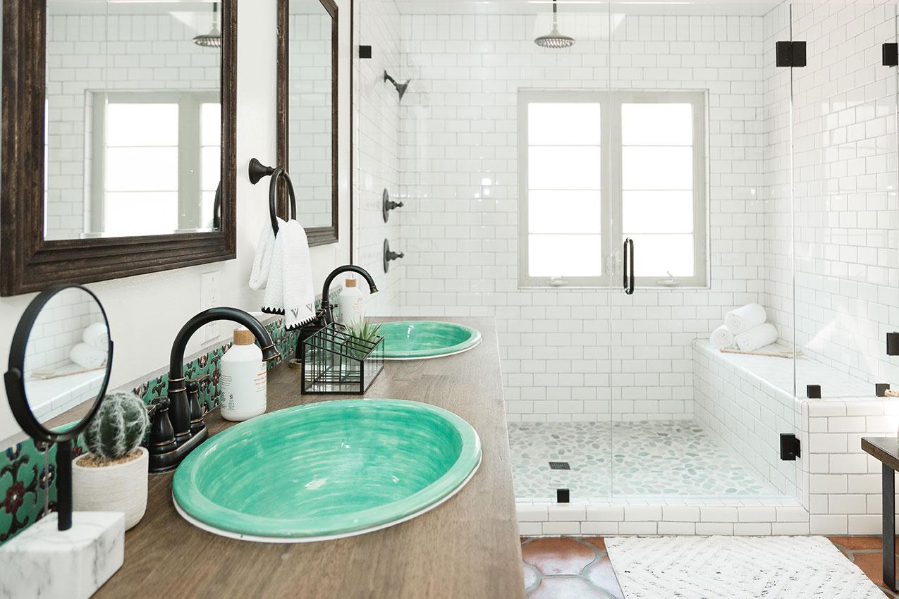 white bathroom tile