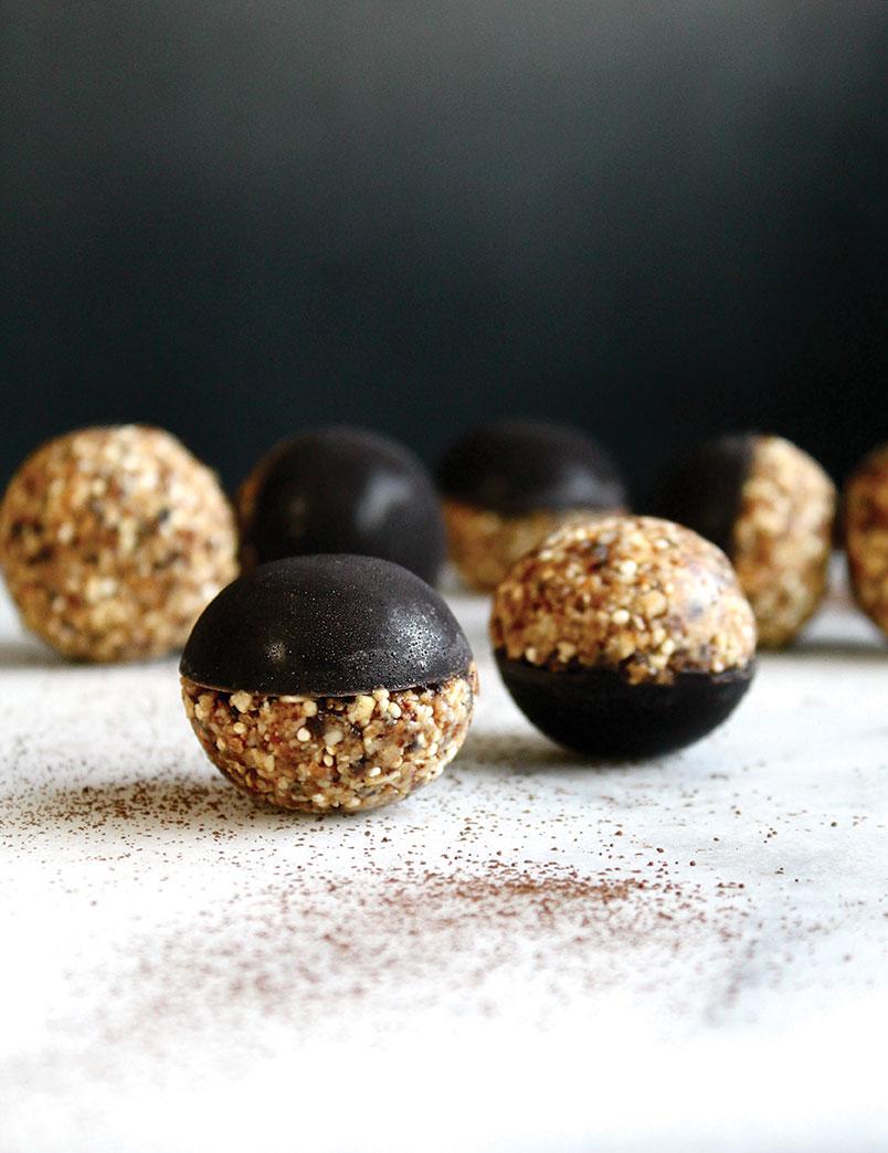 no-bake dark chocolate almond ball treat Valentine's Day