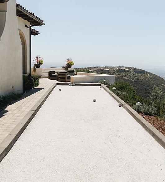 Italian home design bocce court San Diego Rancho Santa Fe