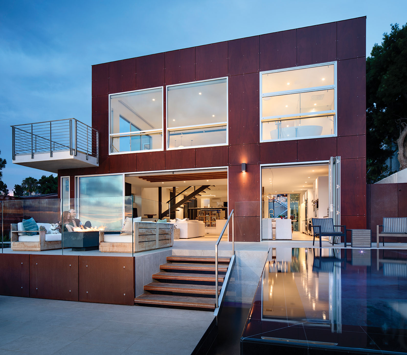 open living open floorplan san diego torrey pines deck pool firepit