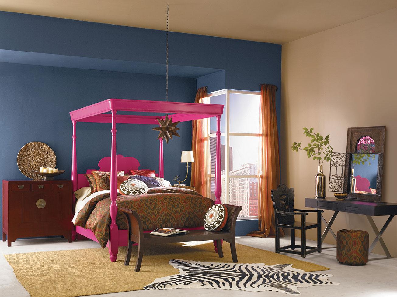 choosing color blue wall orange pink modern