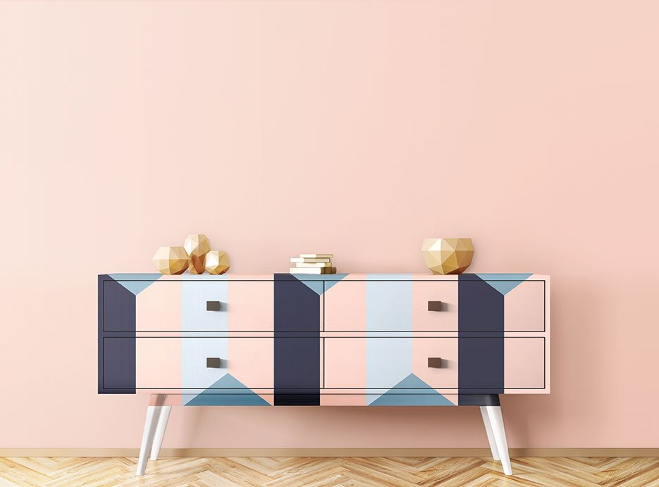 millennial pink blue navy color pairing paint home decor midcentury painted furniture
