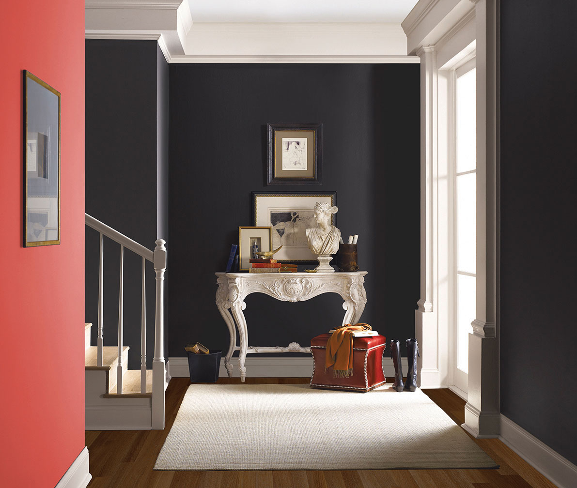 color combos wall paint navy monochromatic pink