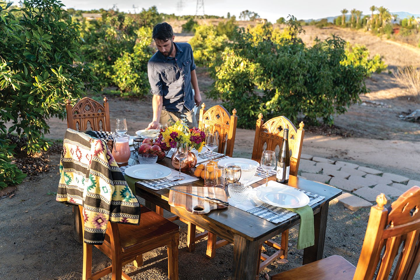 The Brownwood family dines at their farm, Nopalito Farms