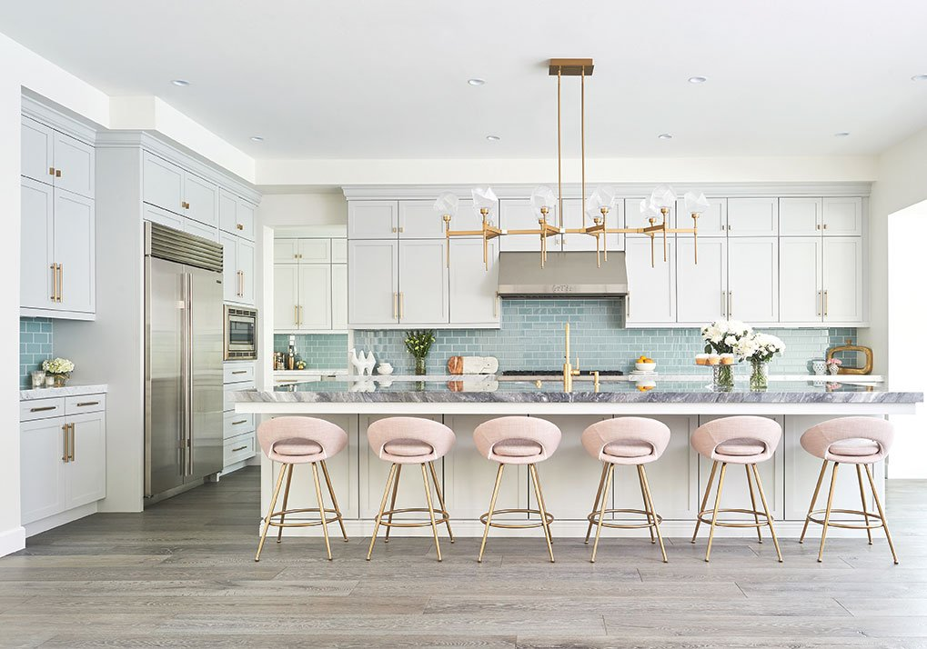 jaki yermian kitchen pink barstools brass fixtures