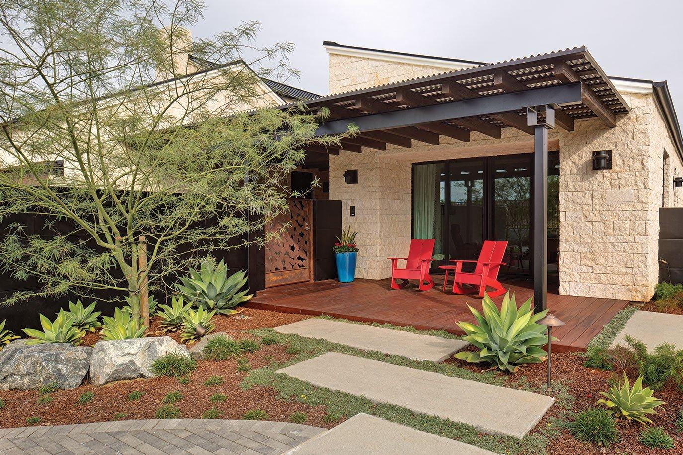 Texas in California San Diego low water garden solar panels adirondack chairs