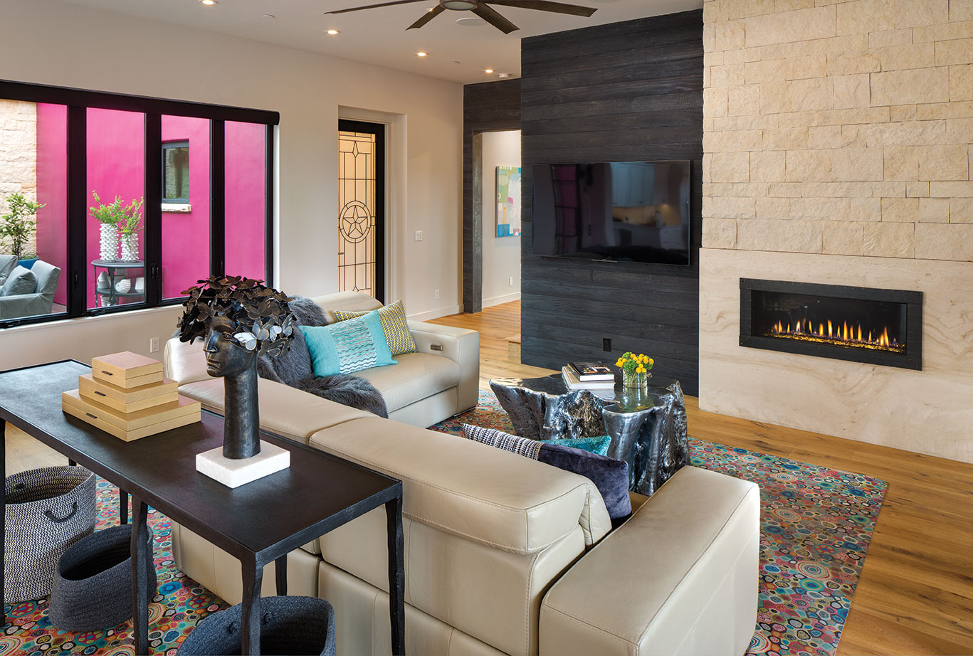 Texas in California living room san diego color Texas star shou sugi ban