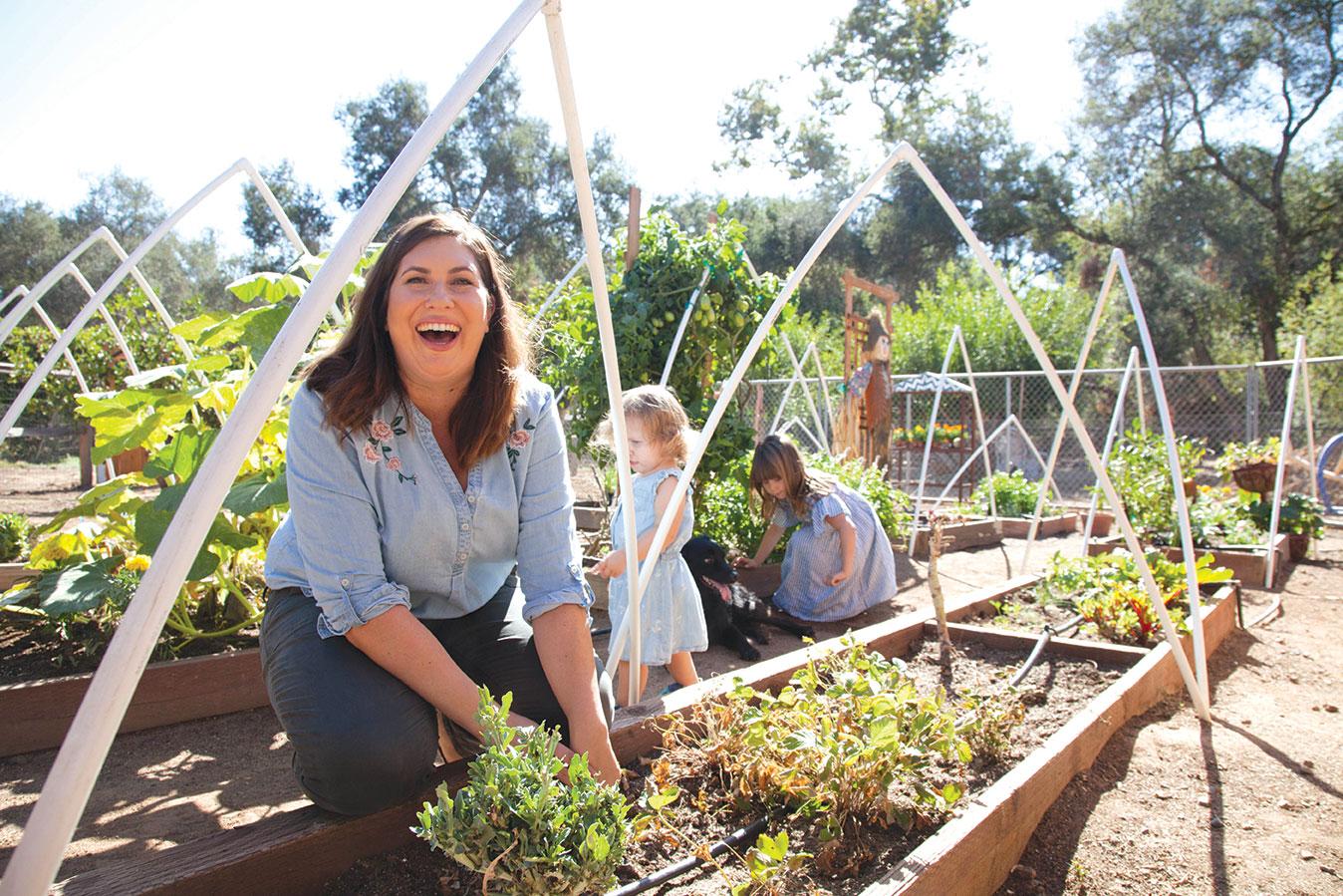 family garden kids gardening raised beds
