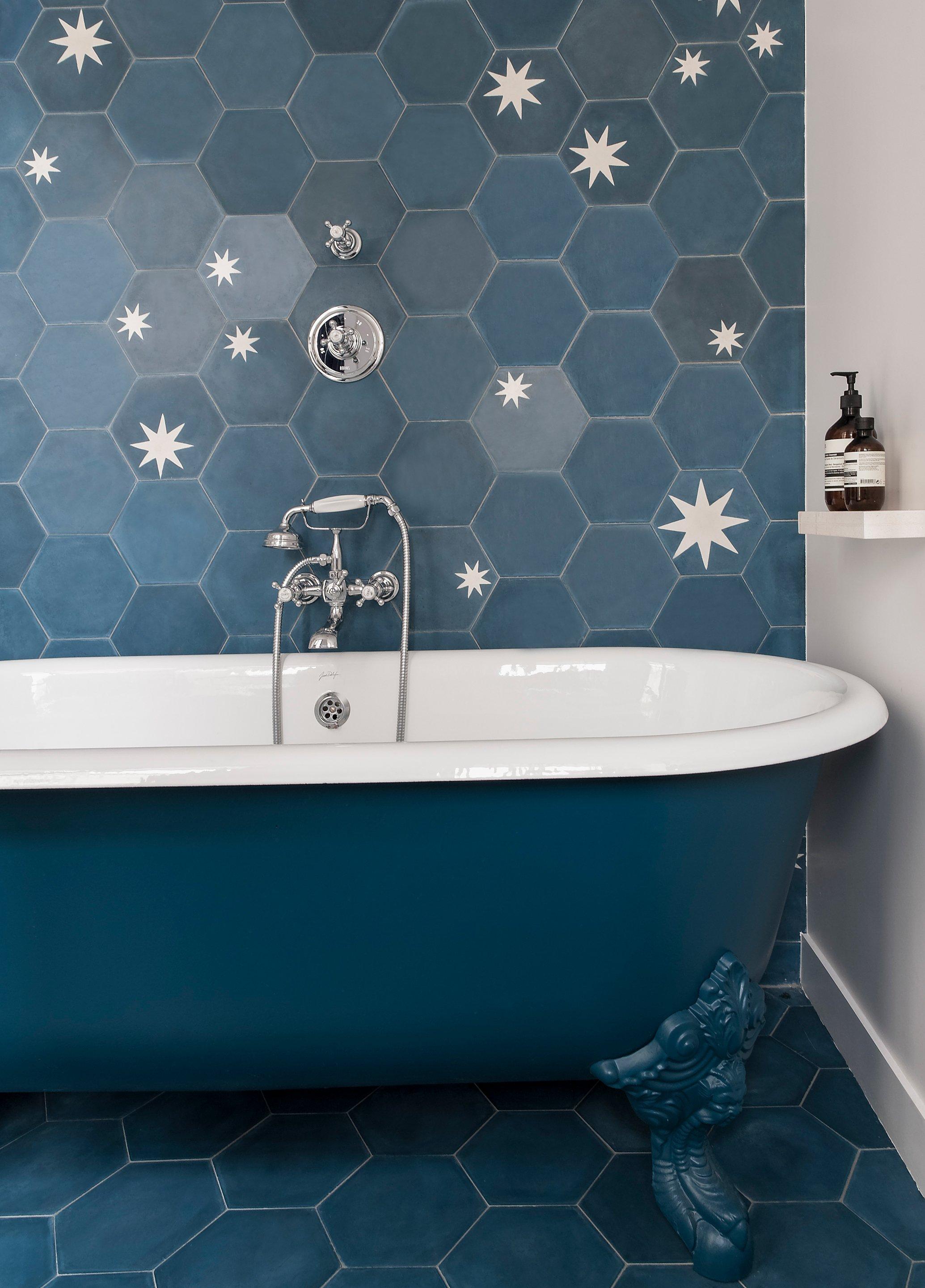 pisces popham design hex star tile bathroom clawfoot tub bathtub zodiac sign design blue