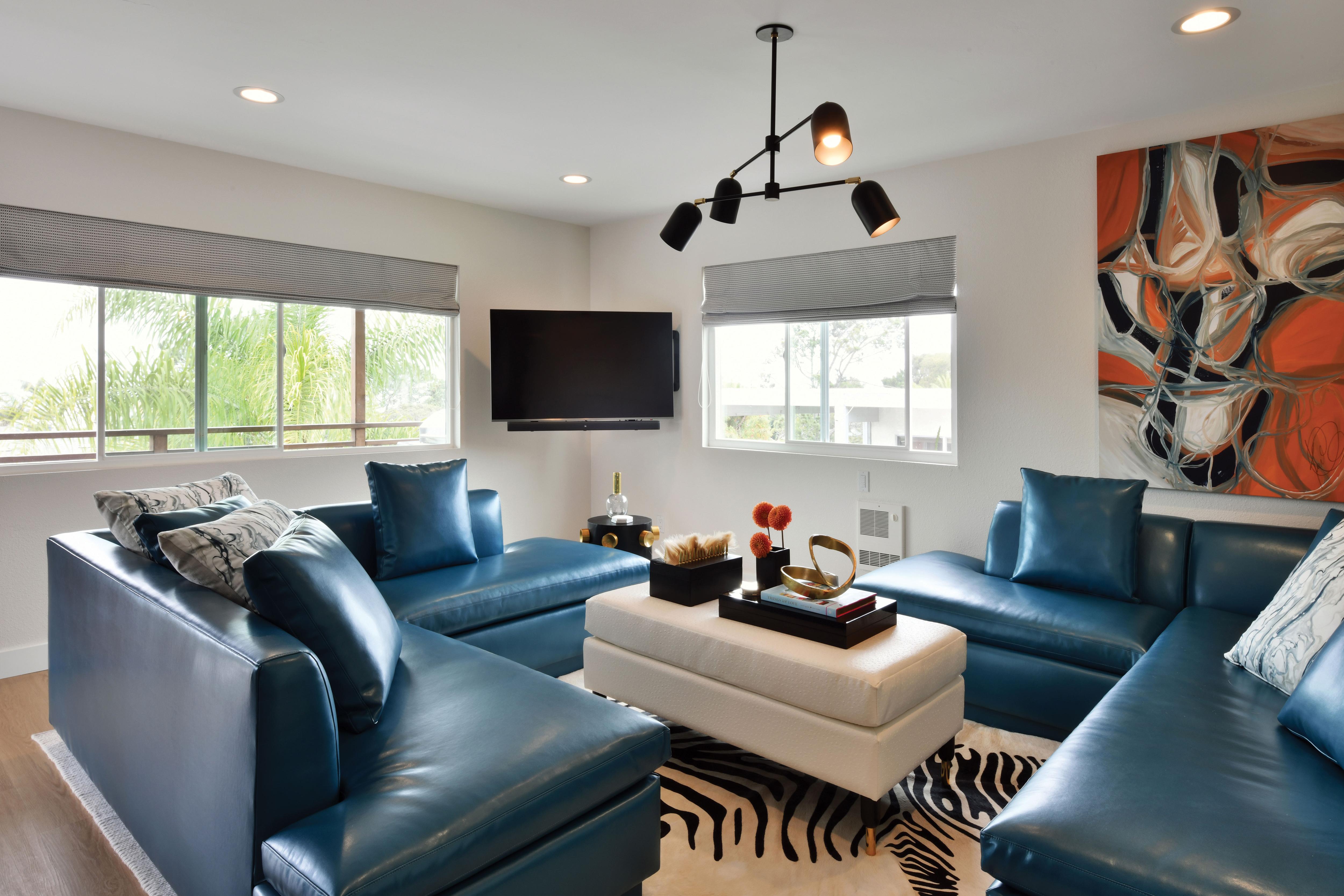 aquarius zodiac design modern blue orange living room