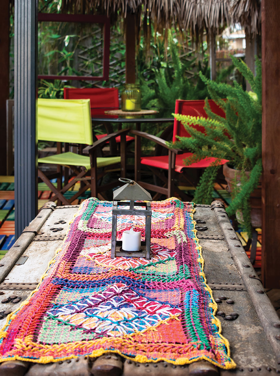 brightly colored textile from brazil in an artistic garden in san diego