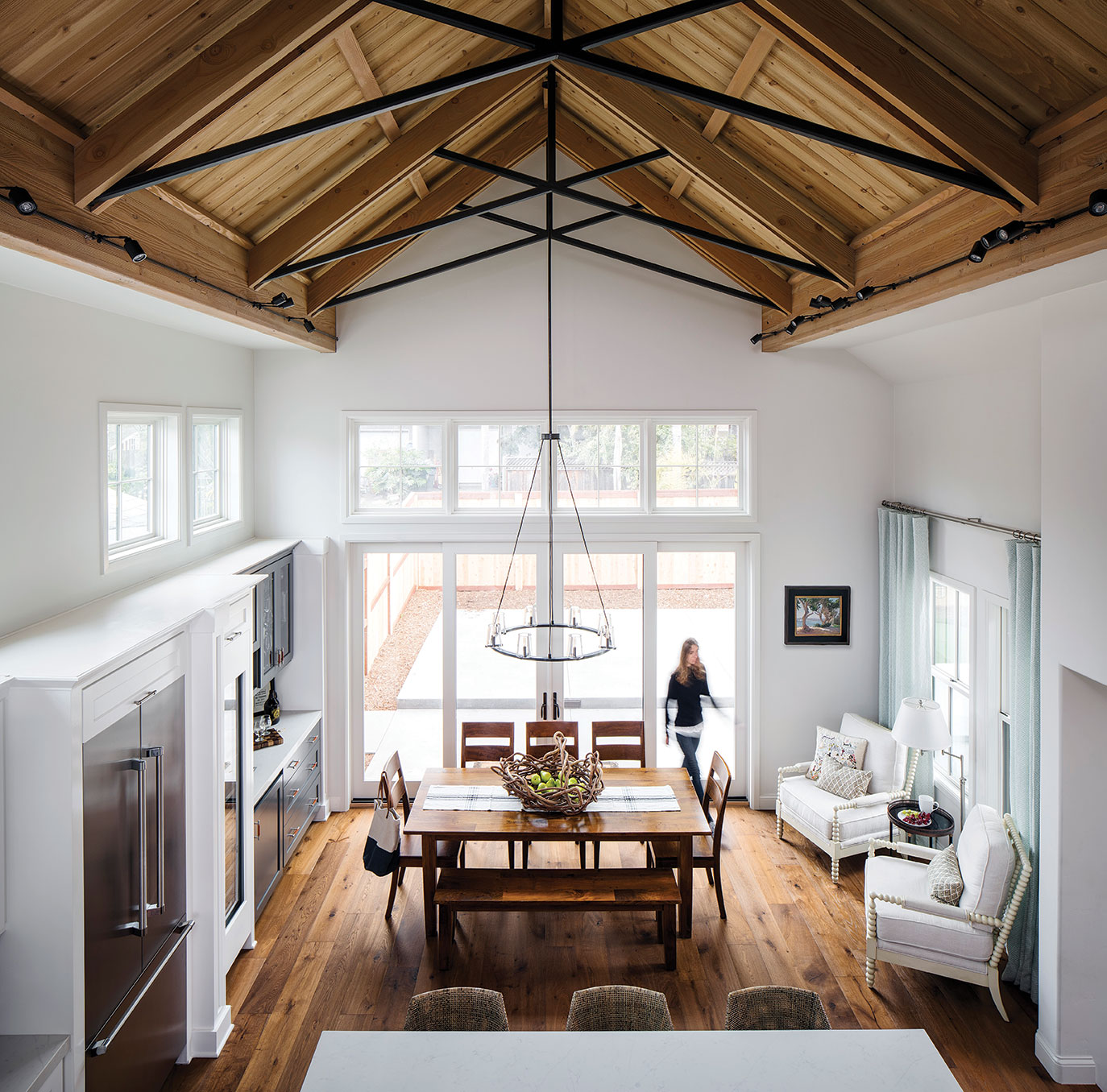 cedar ceiling in an open floorplan kitchen dining space in leucadia near san diego