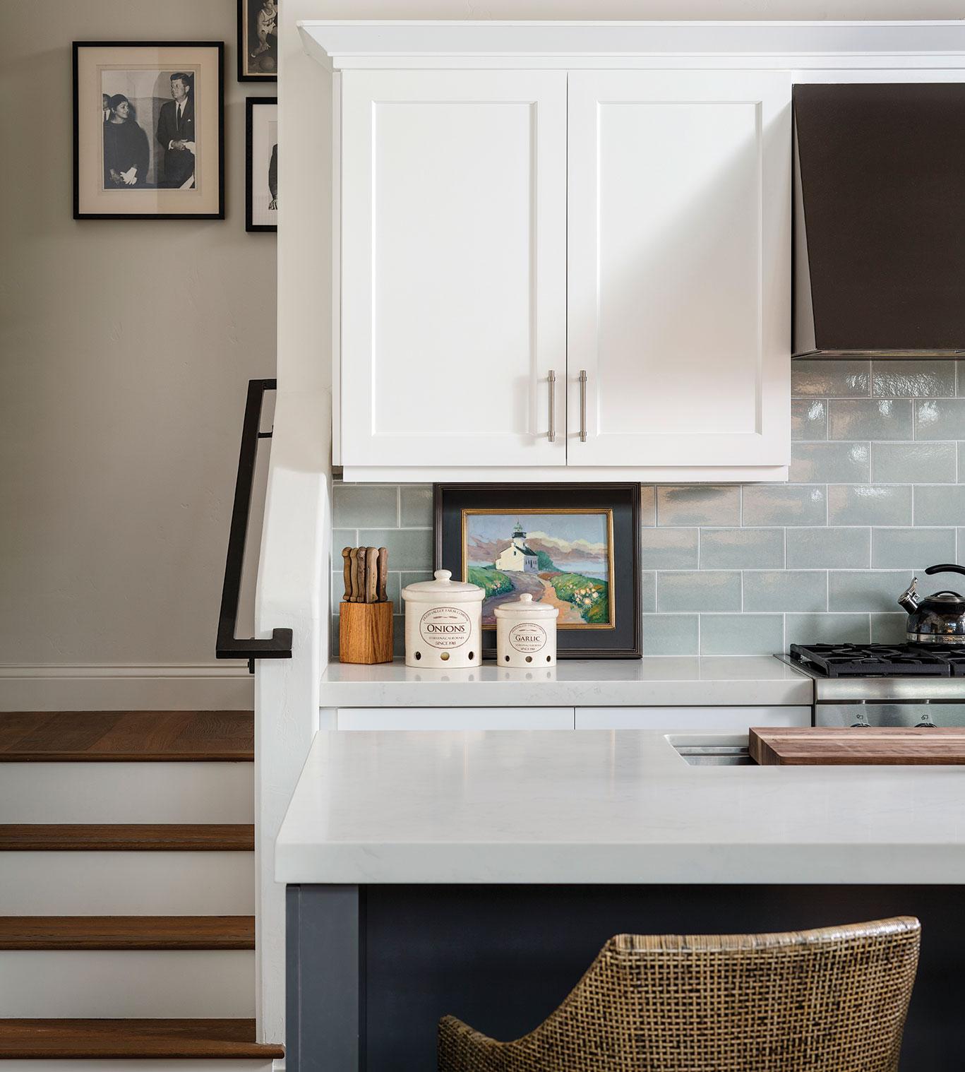 kitchen handmade tile backsplash with quartz countertops