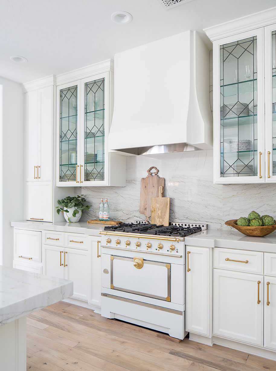 la cornue range gold accents statement kitchen tracy lynn studios