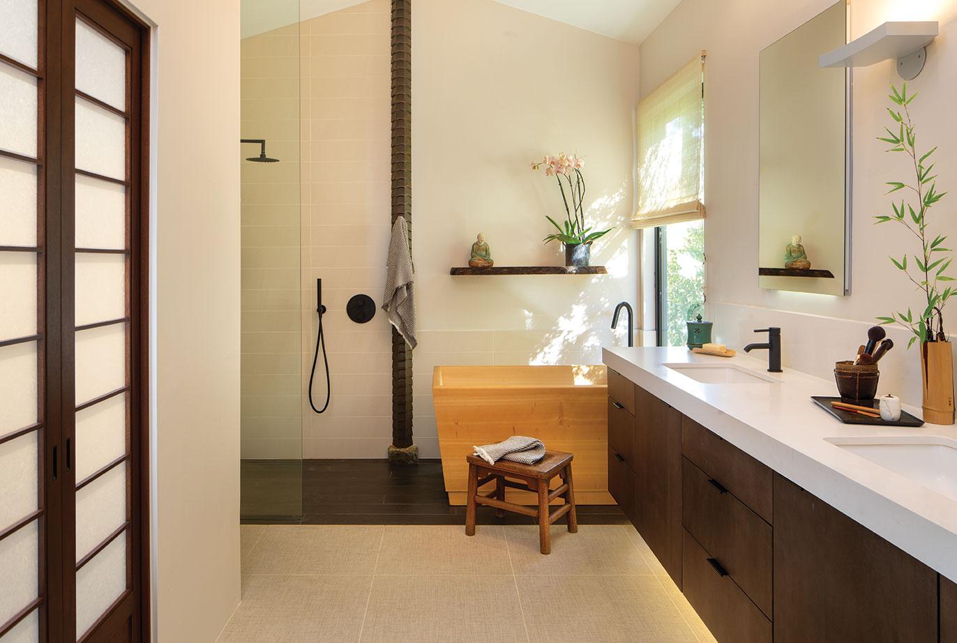 zen bathroom japanese asian hinoki ofuri soaking tub bathtub remodel tatami