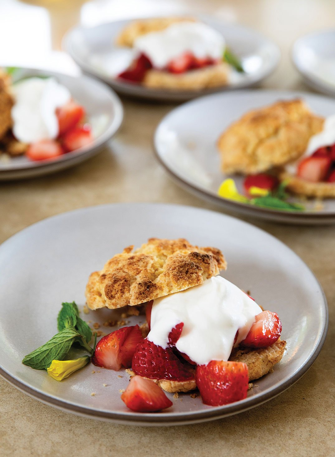 shortcakes with whipped cream and strawberries