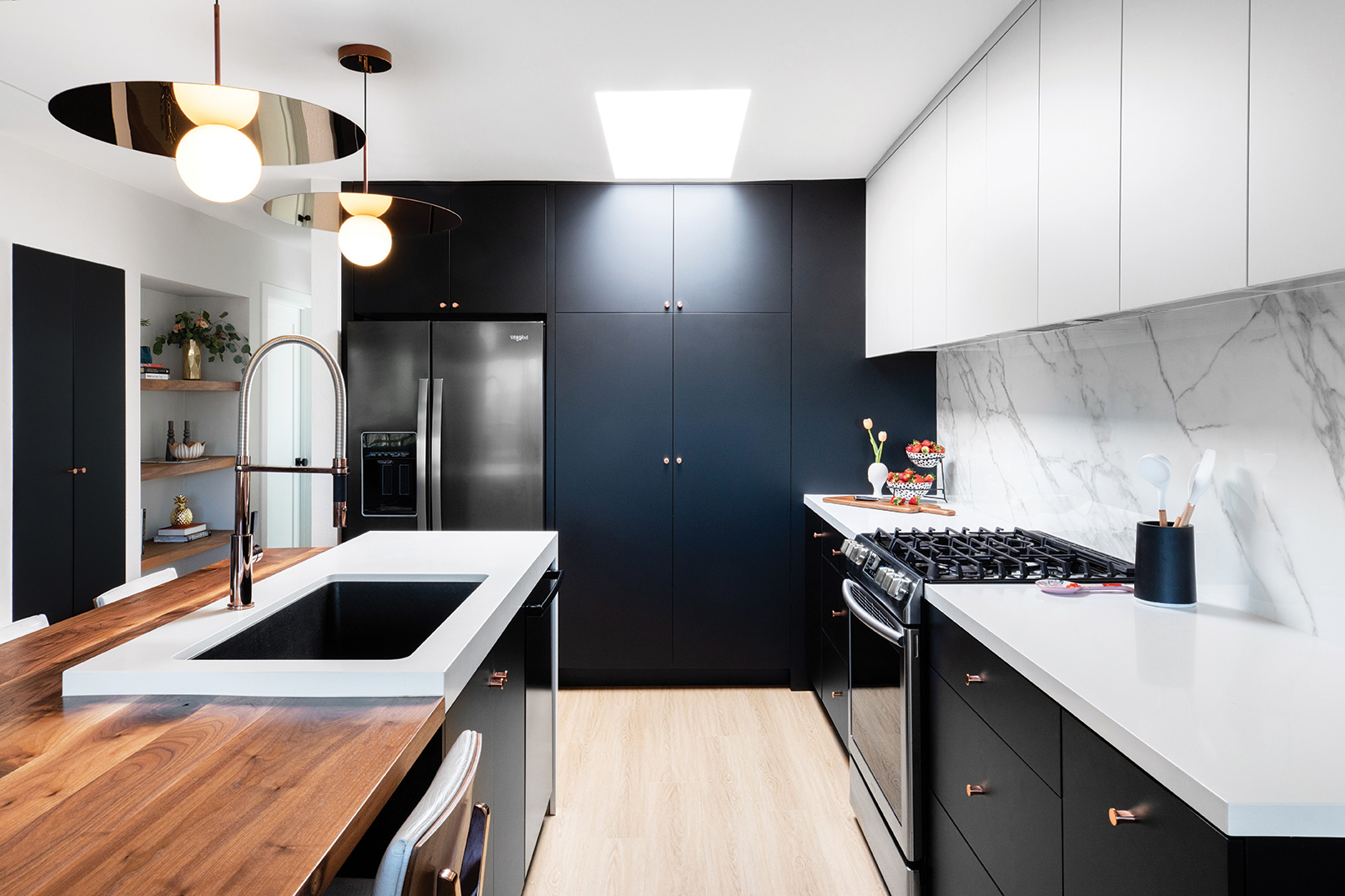 rose gold faucet rose gold pendant lights small kitchen kitchy crouse san diego black cabinetry