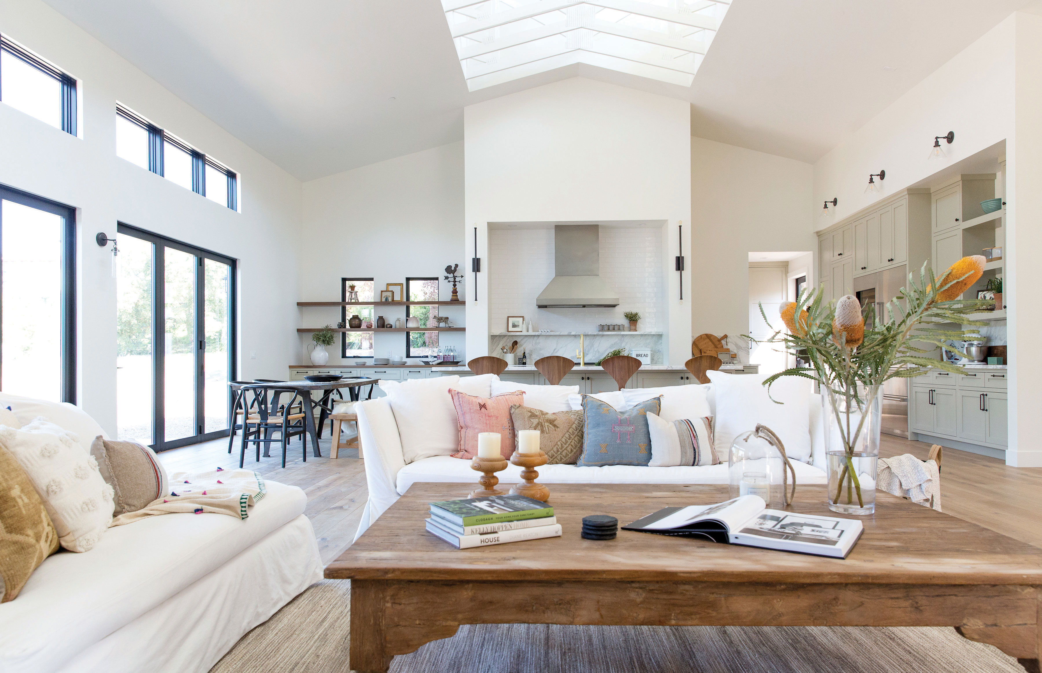 modern farmhouse kitchen open living great room