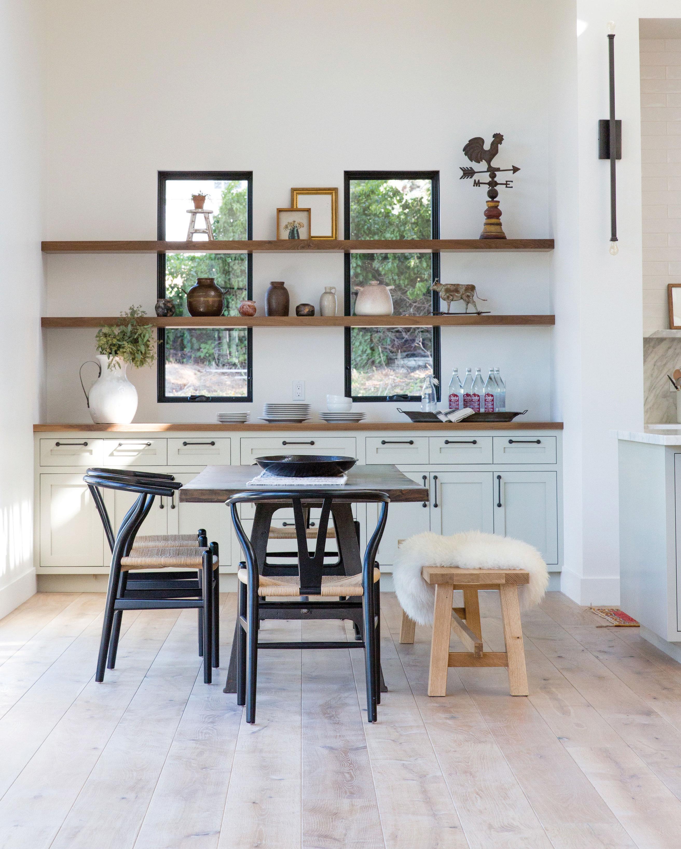 modern farmhouse kitchen with custom shelves