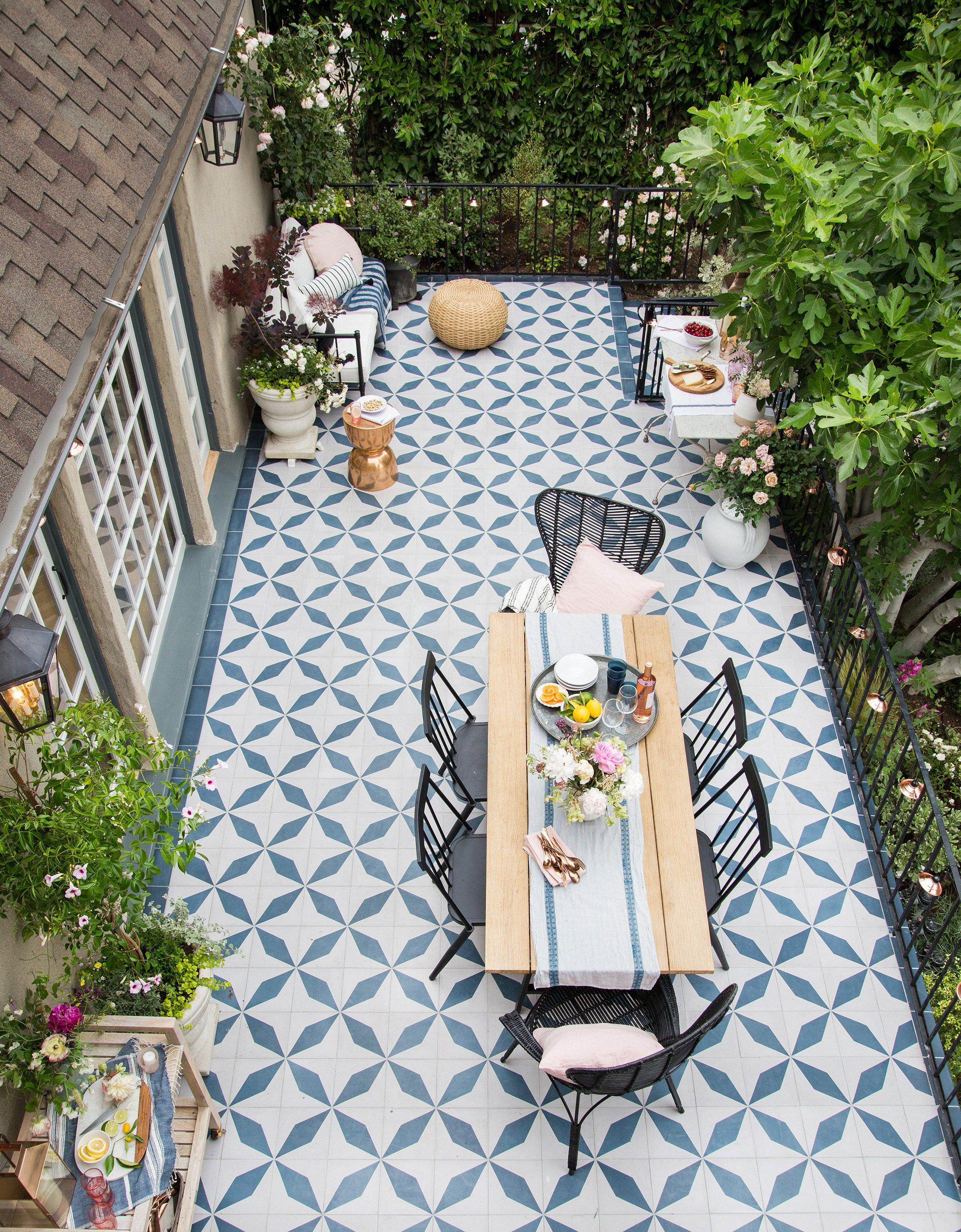 emily henderson outdoor tile granada tile echo collection buniel pattern midnight hawk patio