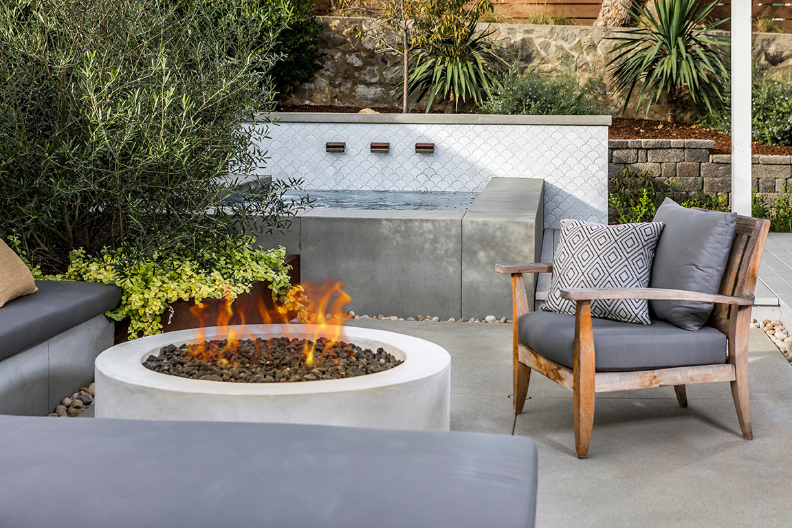 outdoor tile falling water