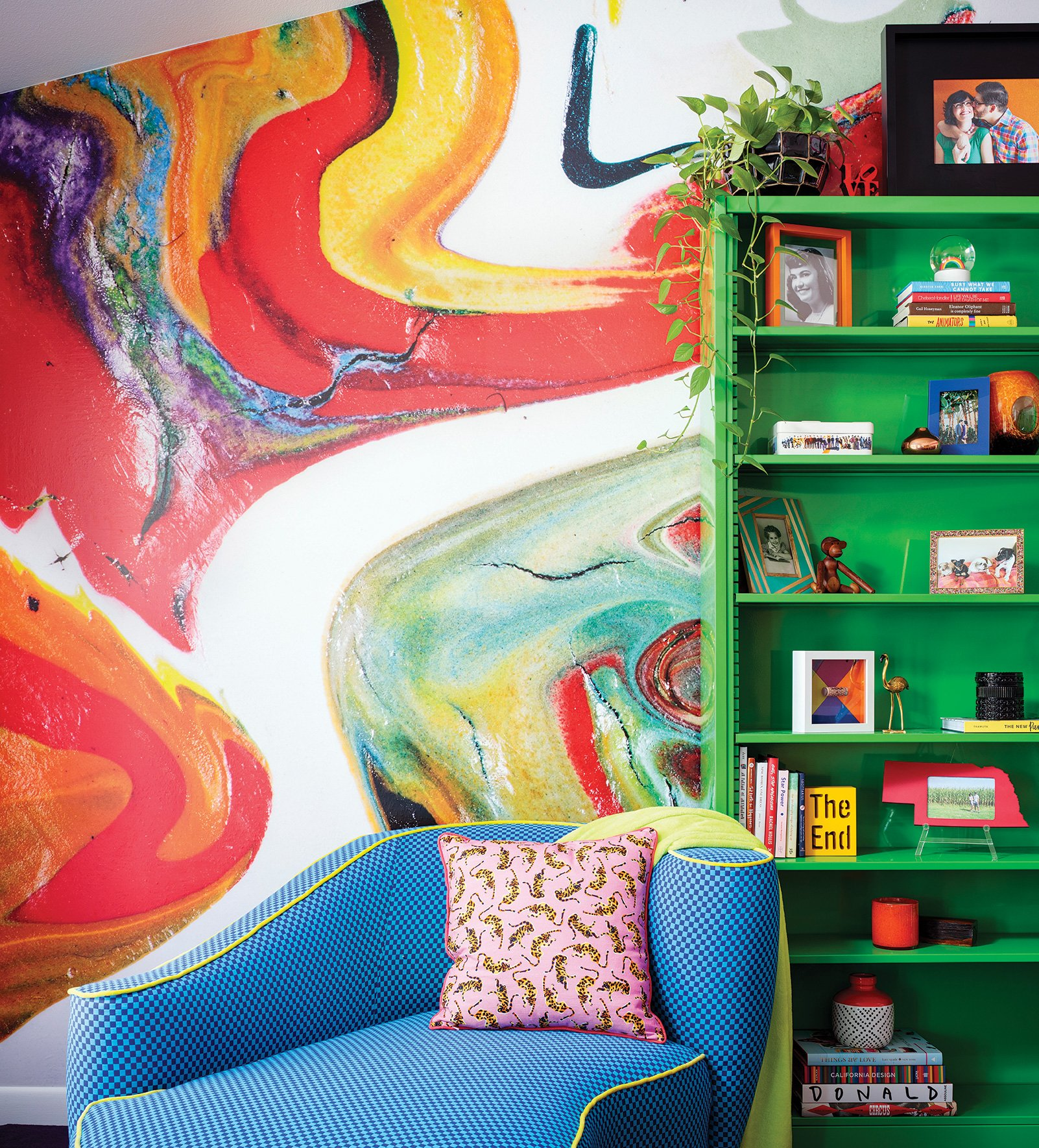 jenna pilant color green bookshelf wallpaper