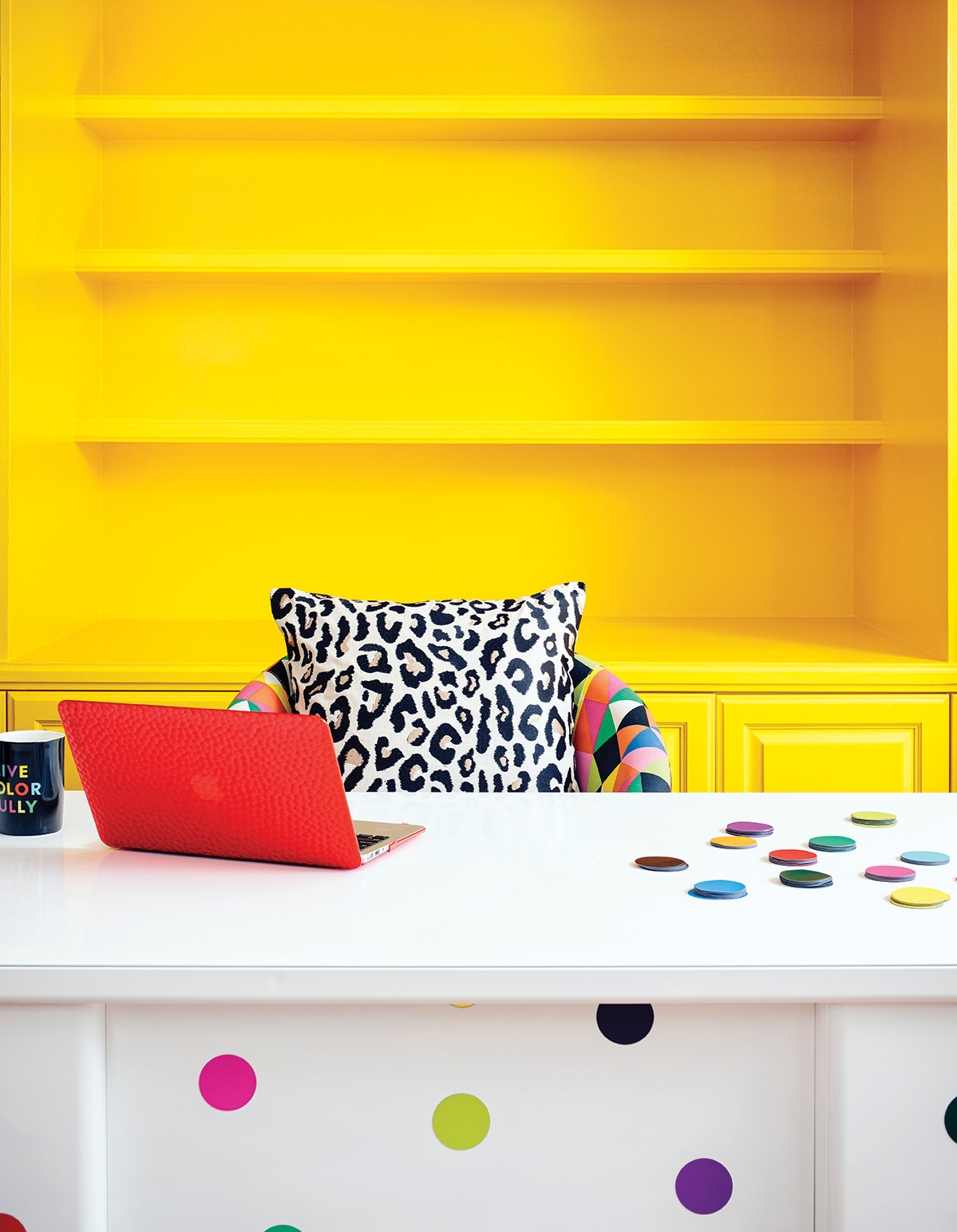 jenna pilant office yellow shelves