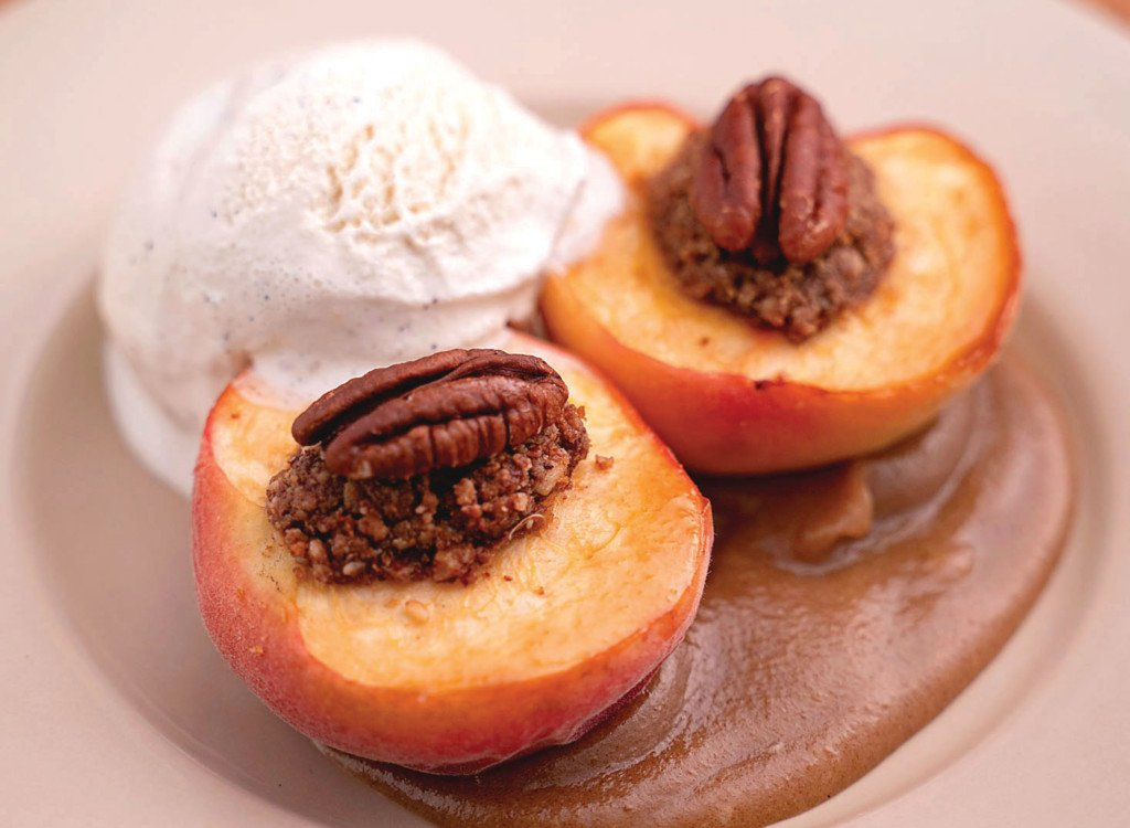 pecan-stuffed baked peaches with miso caramel