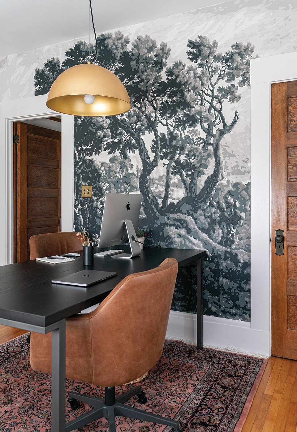 DIY mural projector mural tree paint-by-numbers in a home office neutral tones