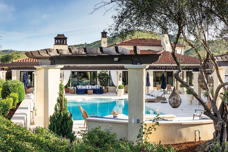 formal garden pool house rancho santa fe cielo