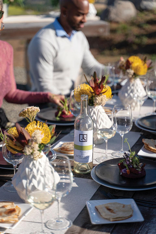 vegan wine pairing plant based pop up table setting tablescape place setting jack simon vineyards vegan dinner