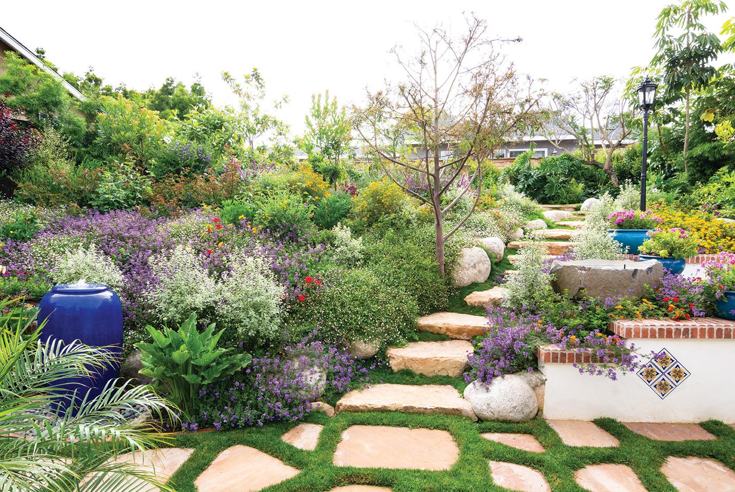 cottage garden terrace bubbler bird bath stairs