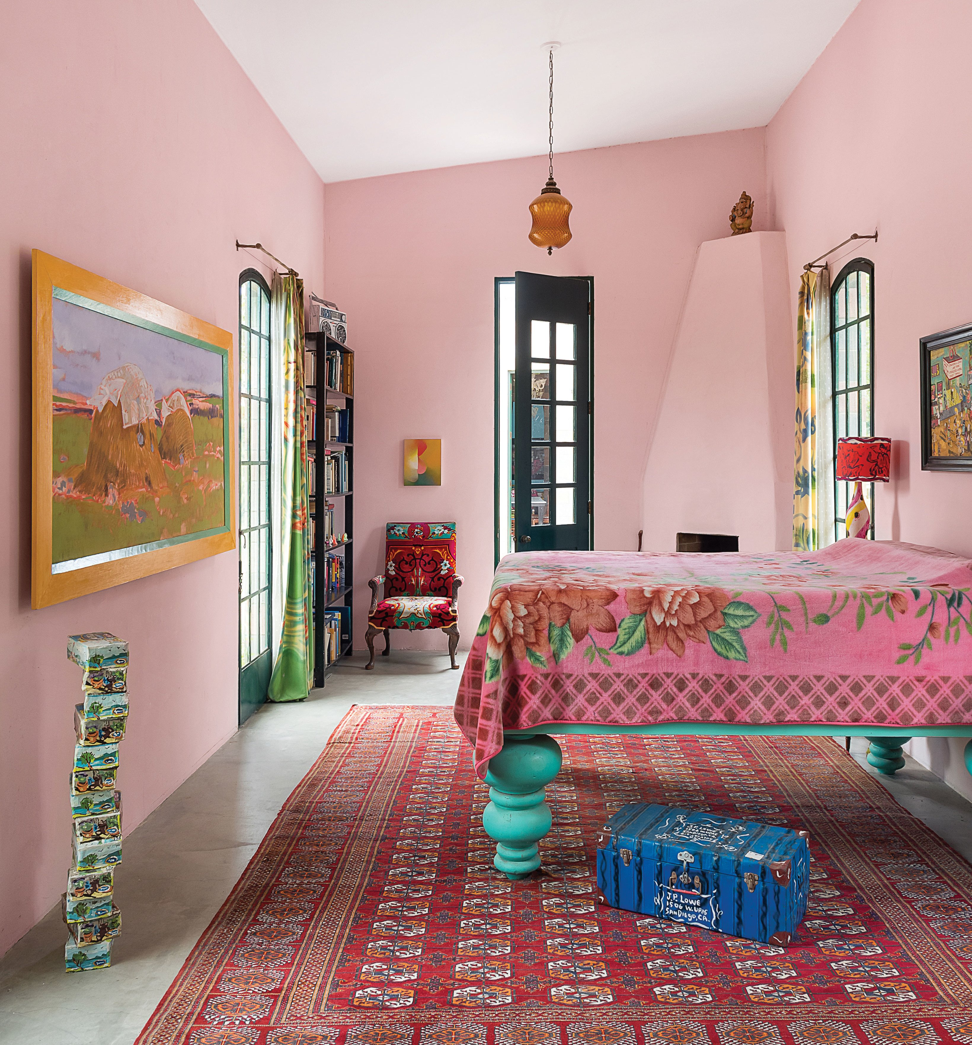 jean lowe and kim macconnel artists art san diego home master bedroom tall bed pink walls