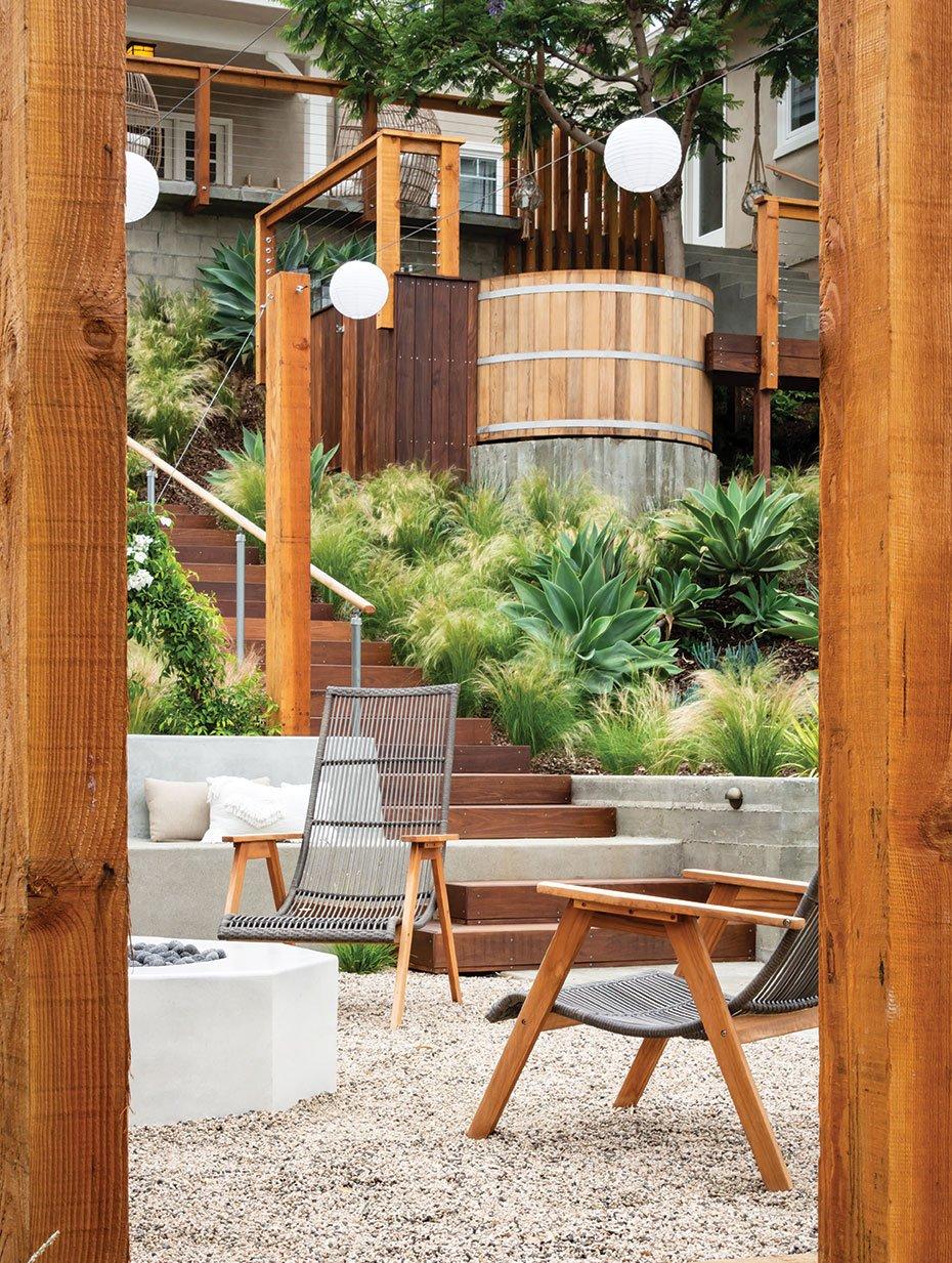 tiered garden tiers terraced terrace cedar hot tub ipe deck fire pit