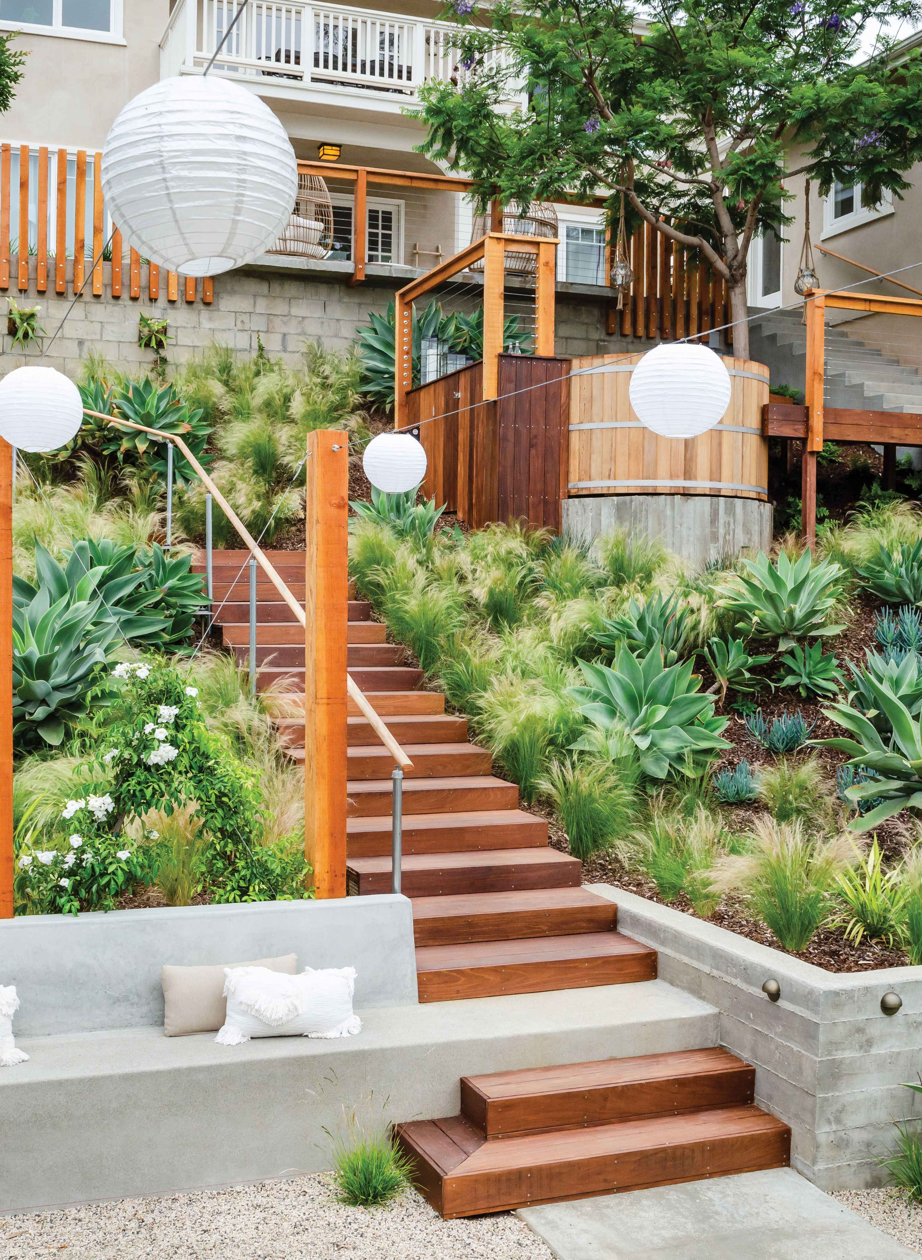tiered garden tiers ipe staircase stairs terraced terraces