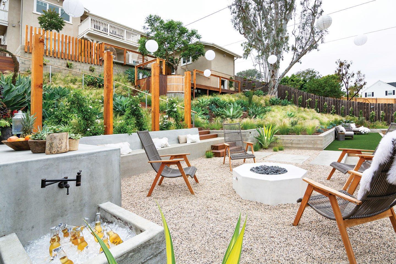 tiered garden tiers terraced terraces fire pit outdoor sink