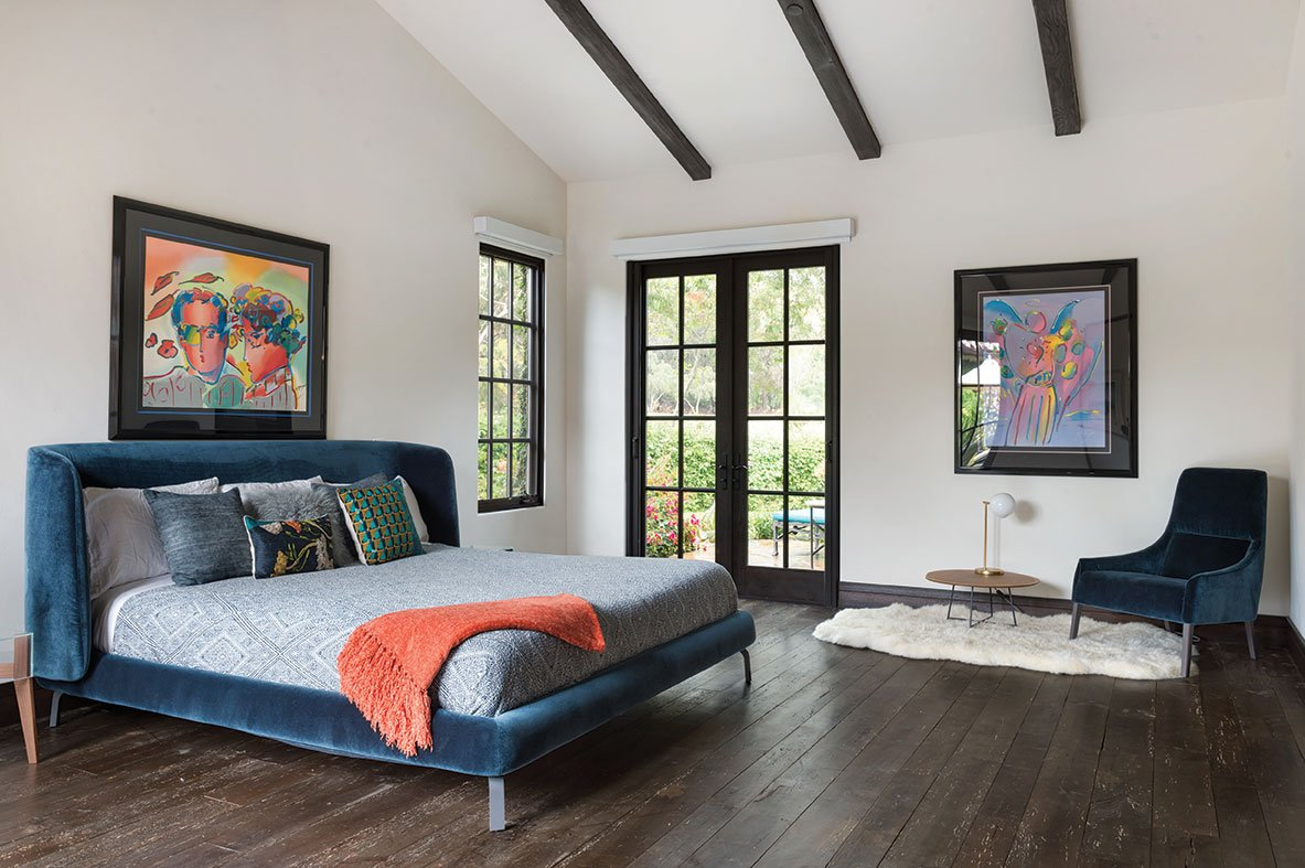 tuscan contemporary master bedroom reclaimed maple flooring