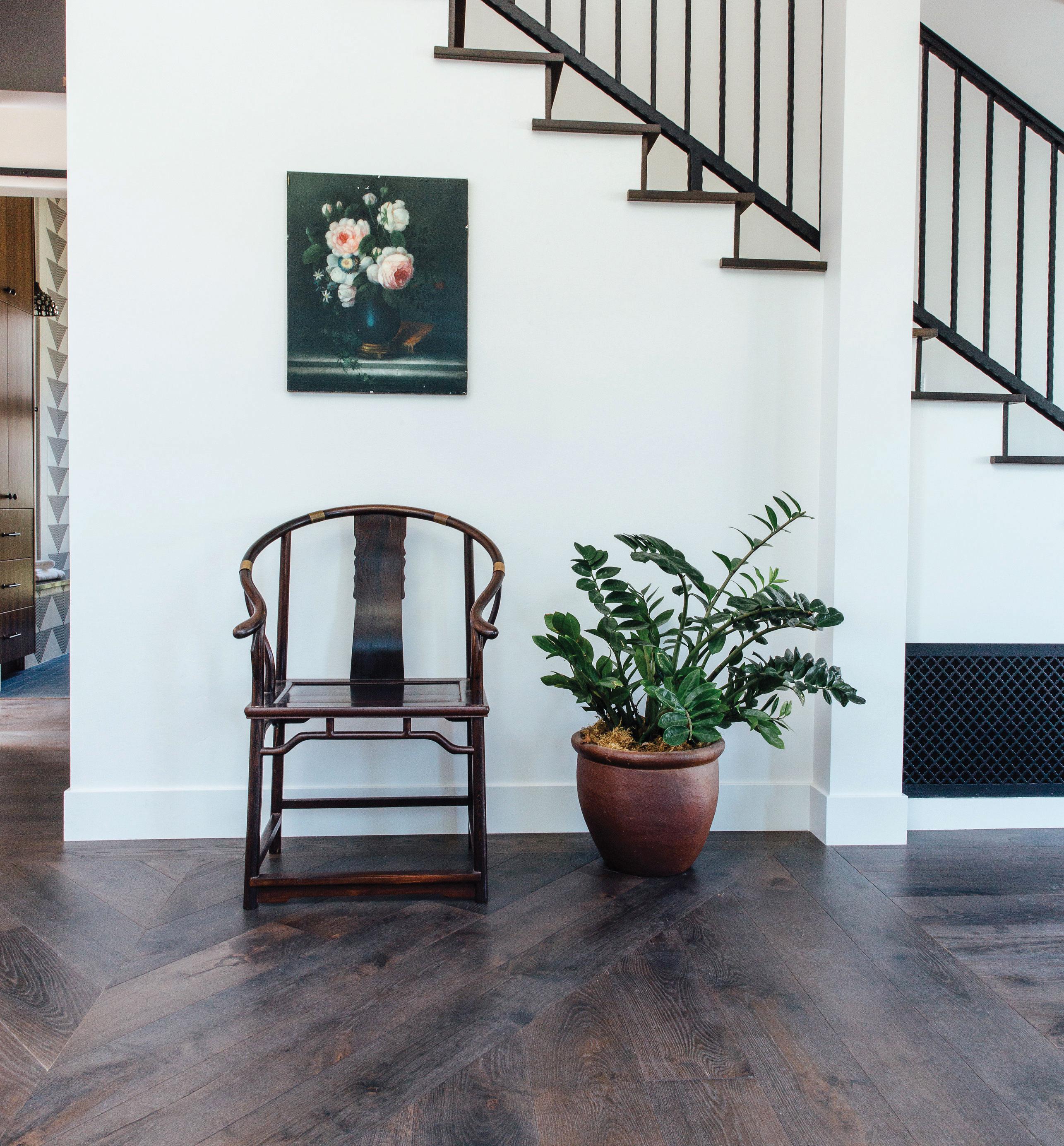 vintage decor statement chair in hallway