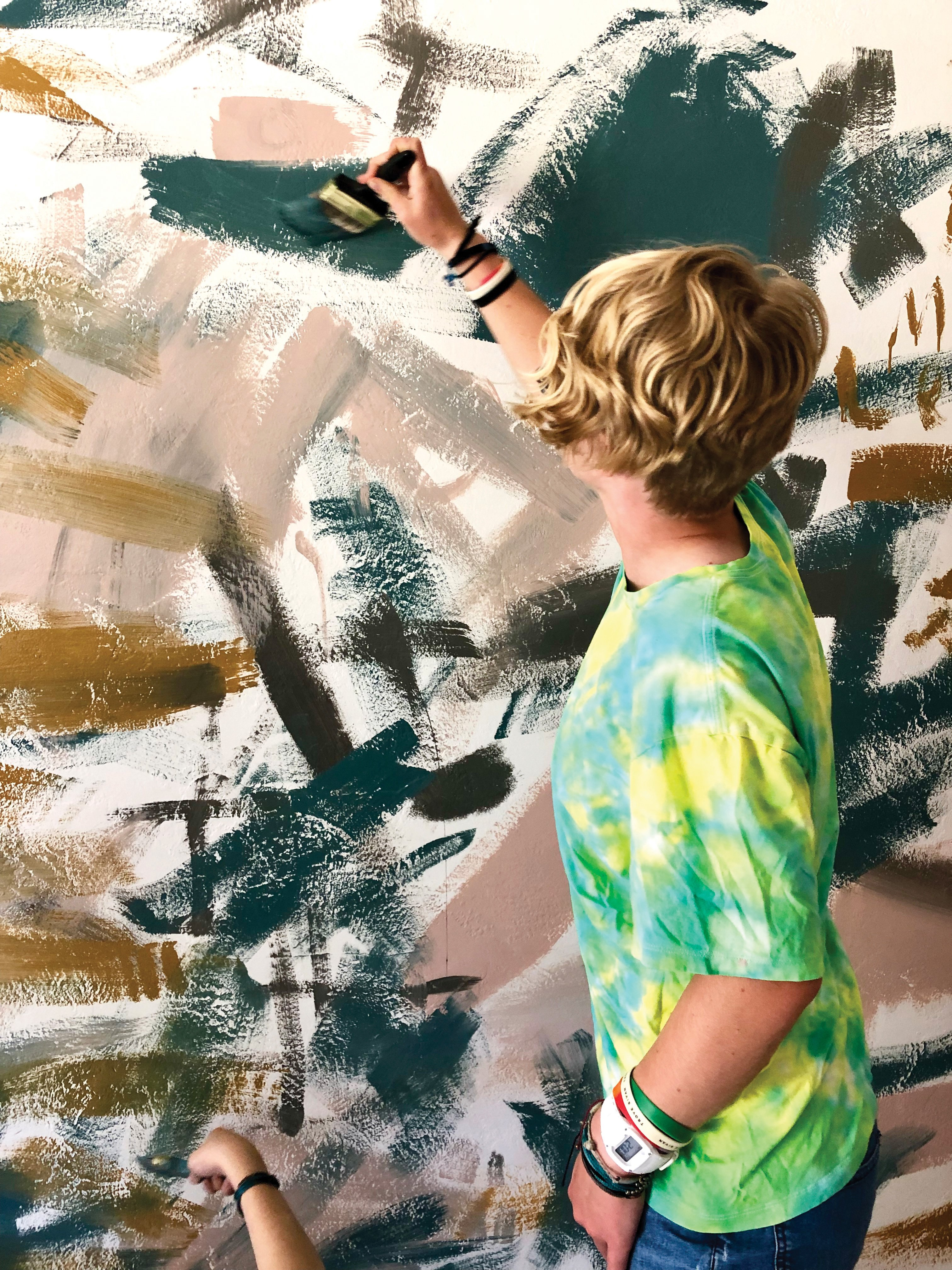 DIY abstract mural kids jennifer mchugh artist san diego contrast colors
