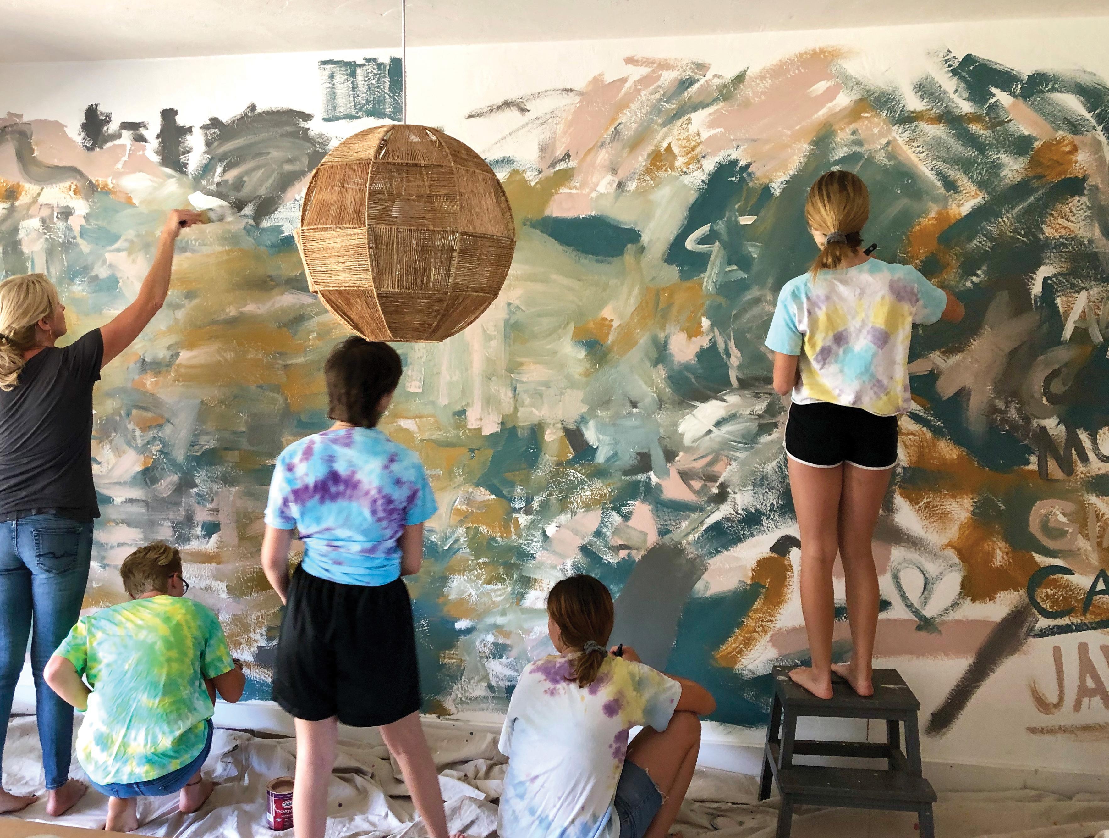 DIY abstract mural kid art artist jennifer mchugh san diego dining room decor