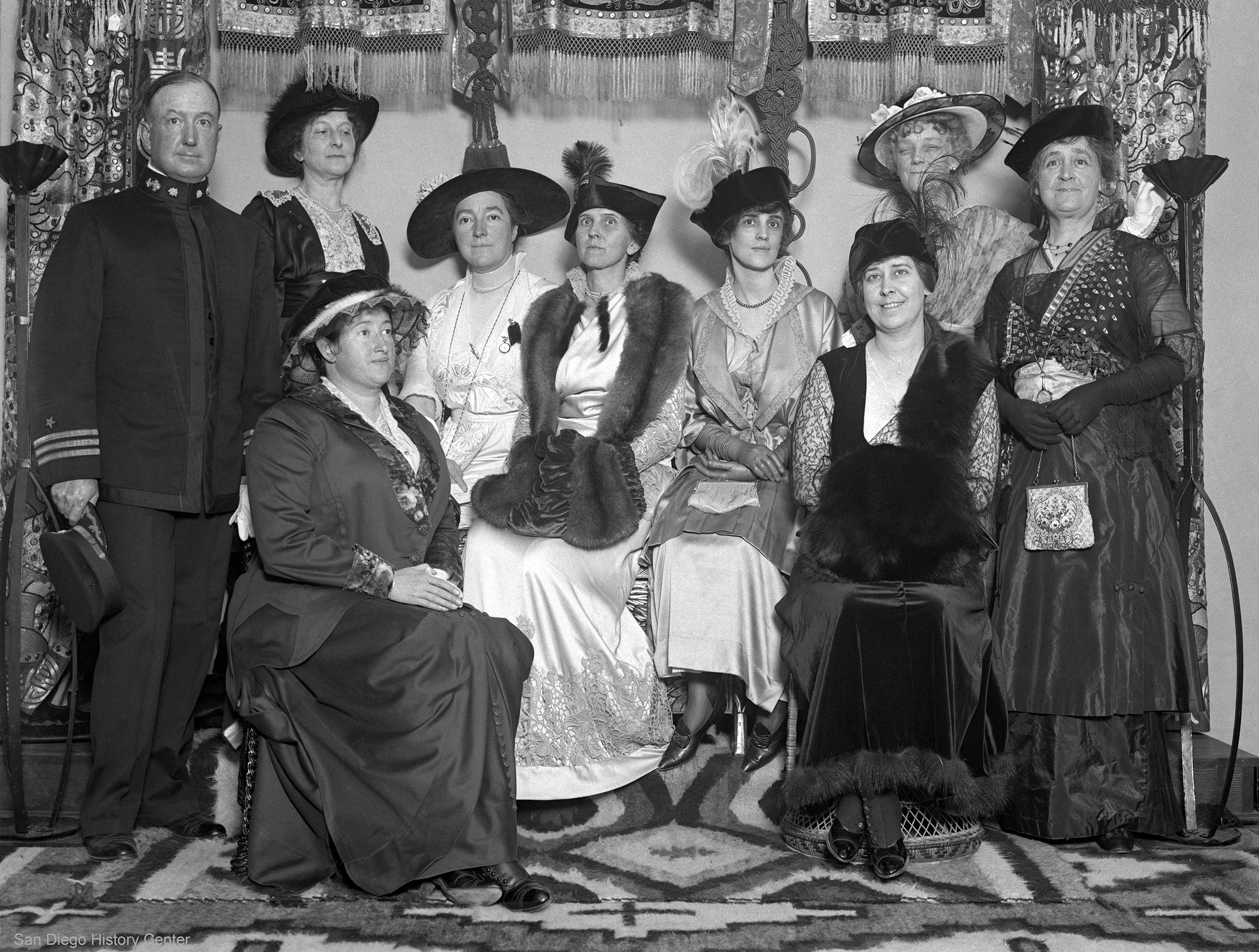 San Diego 1915 Panama-California Exposition women's board with Navy Commander Cleland Davis