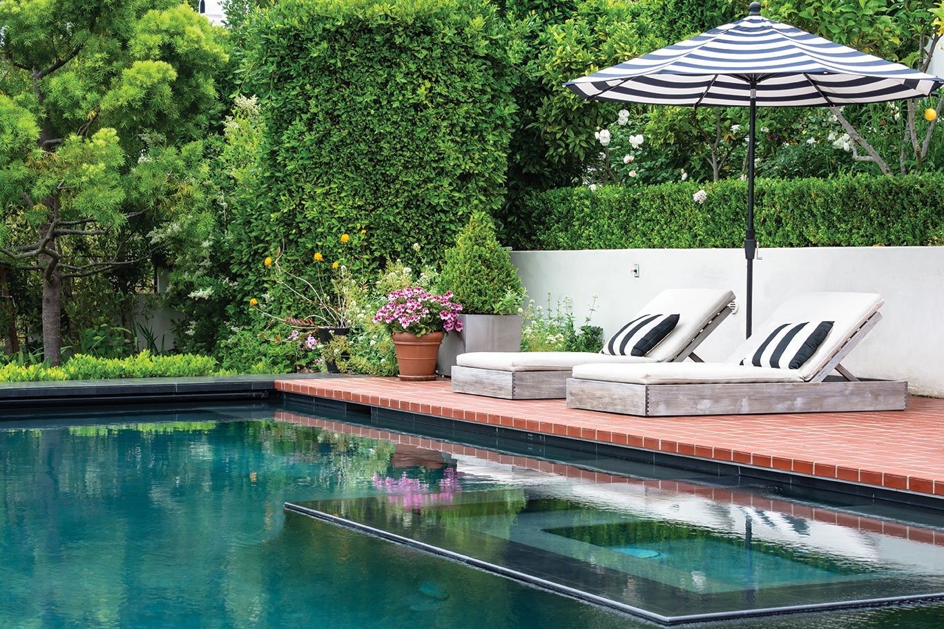 backyard terraces sloped garden terraced pool and red tiles