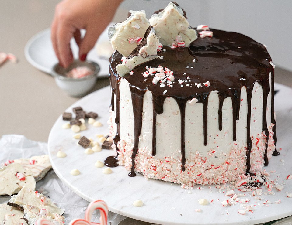 Peppermint Bark Layer Cake with White Chocolate Peppermint Crunch Frosting