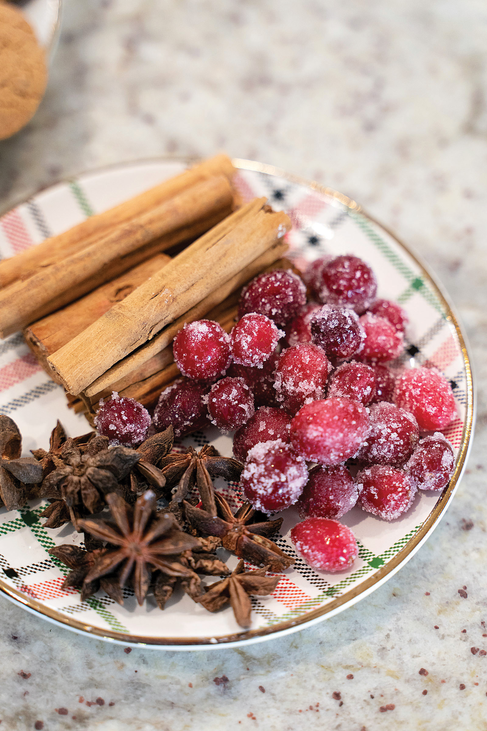 holiday cakes garnishes star anise cinnamon sticks and sugared cranberries