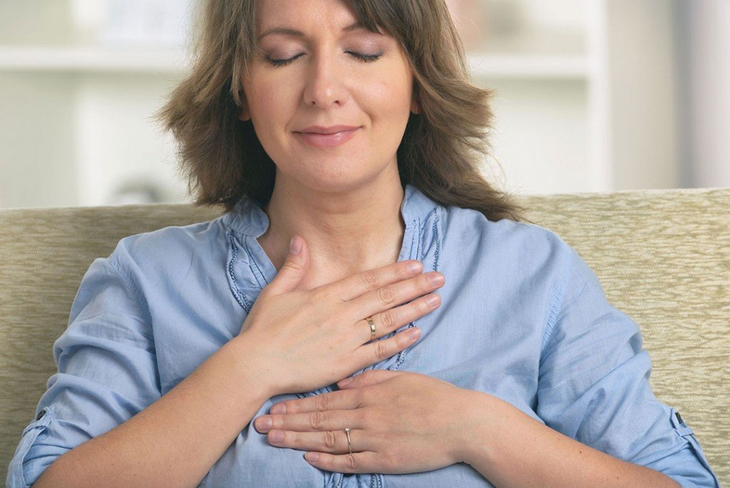 Woman Smiling Hands Heart 127575836 M